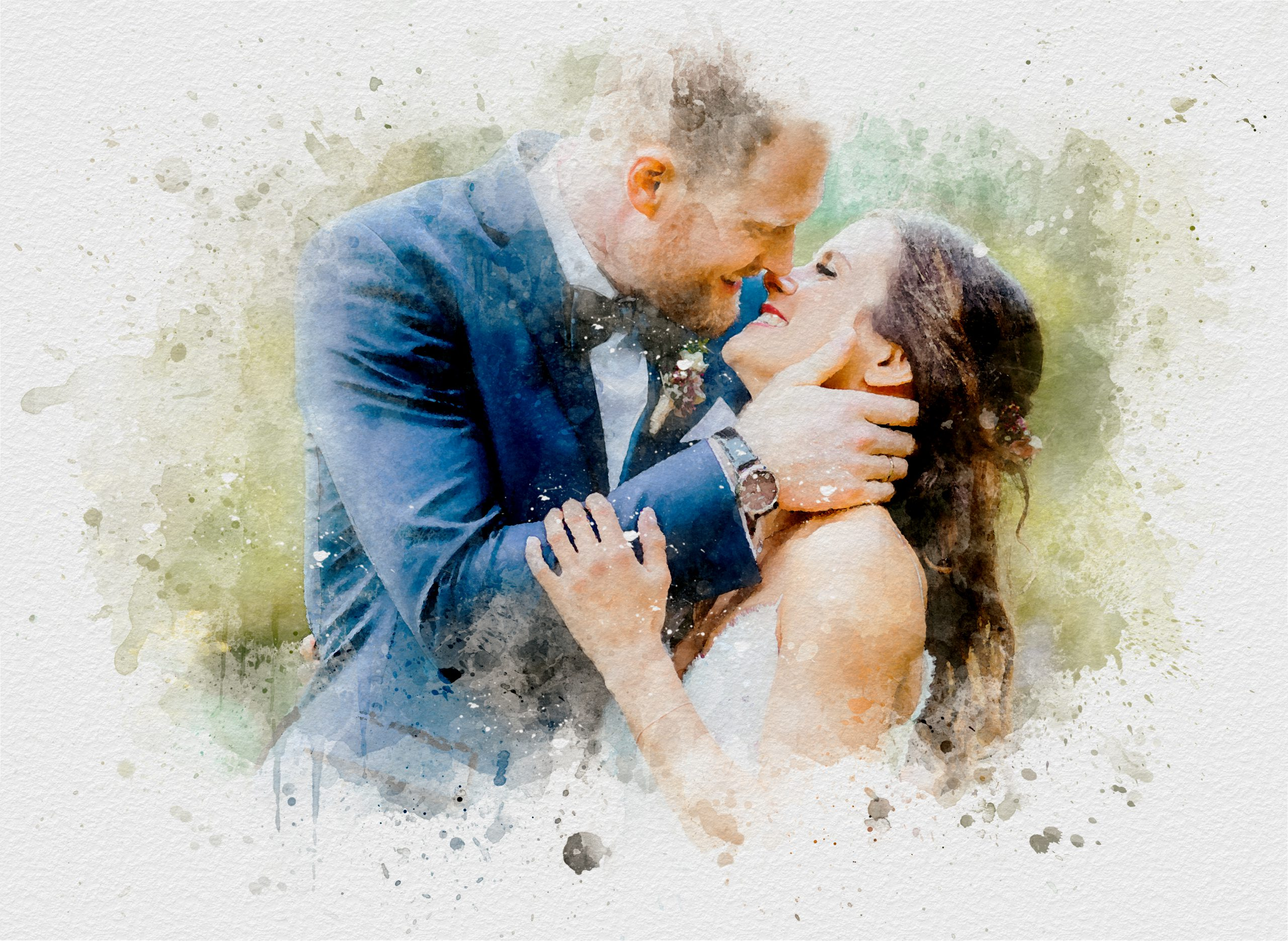 Aquarell Hochzeitsfoto